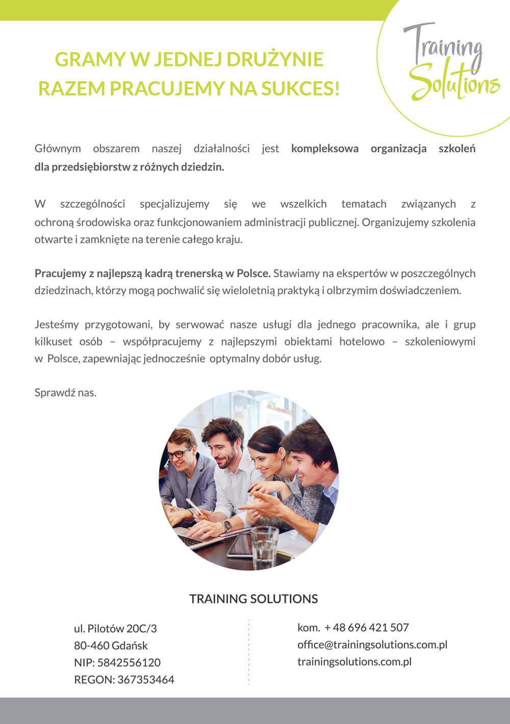 Ulotka Training Solutions A5 - projekt graficzny