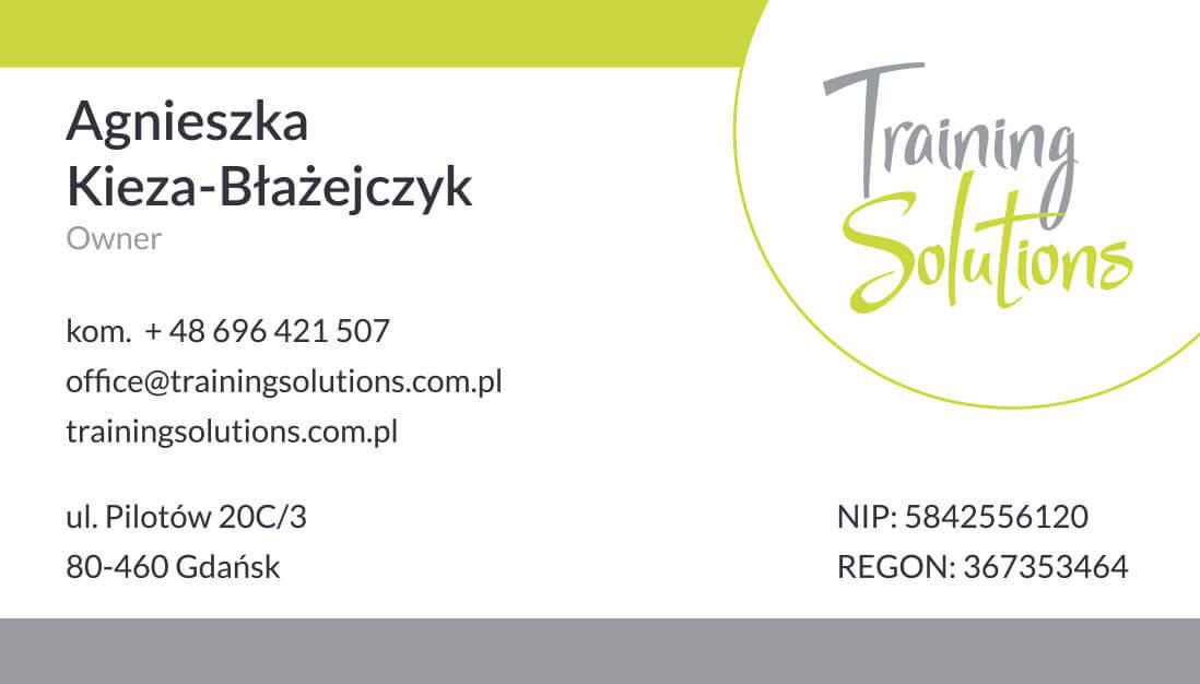 Wizytówka Training Solutions - projekt graficzny