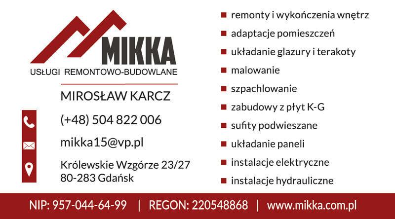 Projekt wizytówki dla firmy remontowej